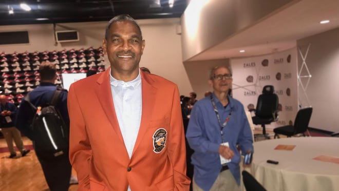 "Maurice ""Mo"" Cheeks wears his new Hall of Fame jacket."