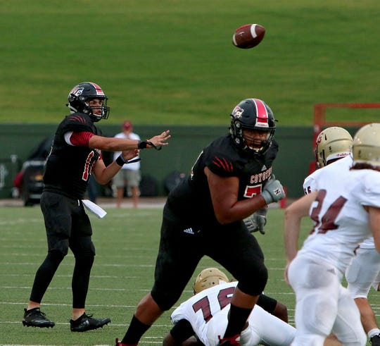 Wichita Falls High quarterback Anthony Vargas (left) throws a pass against Saginaw on Friday, Sept. 7, 2018, at Memorial Stadium.
