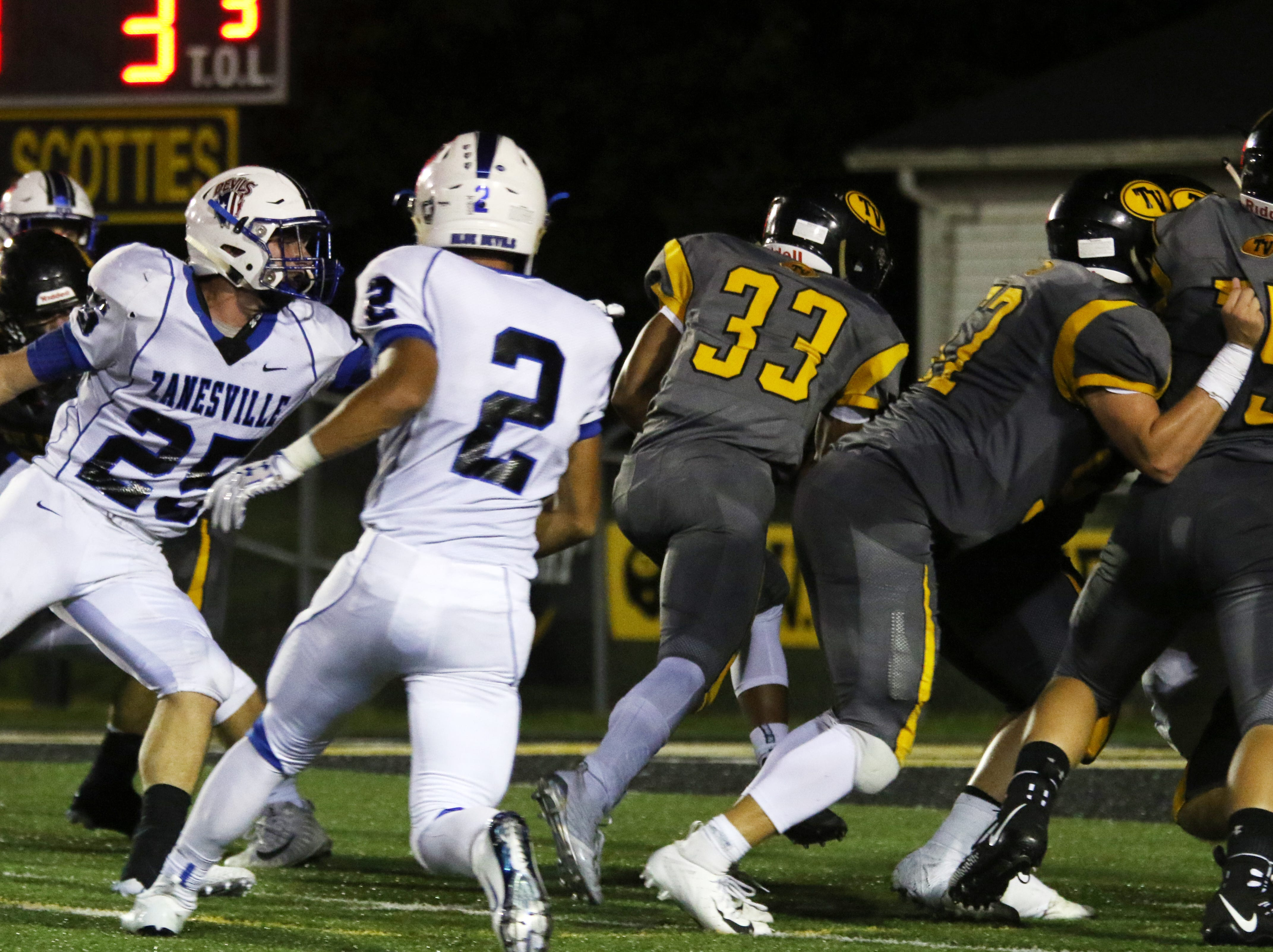 Tri-Valley's Jordan Pantaleo heads toward the endzone against Zanesville.