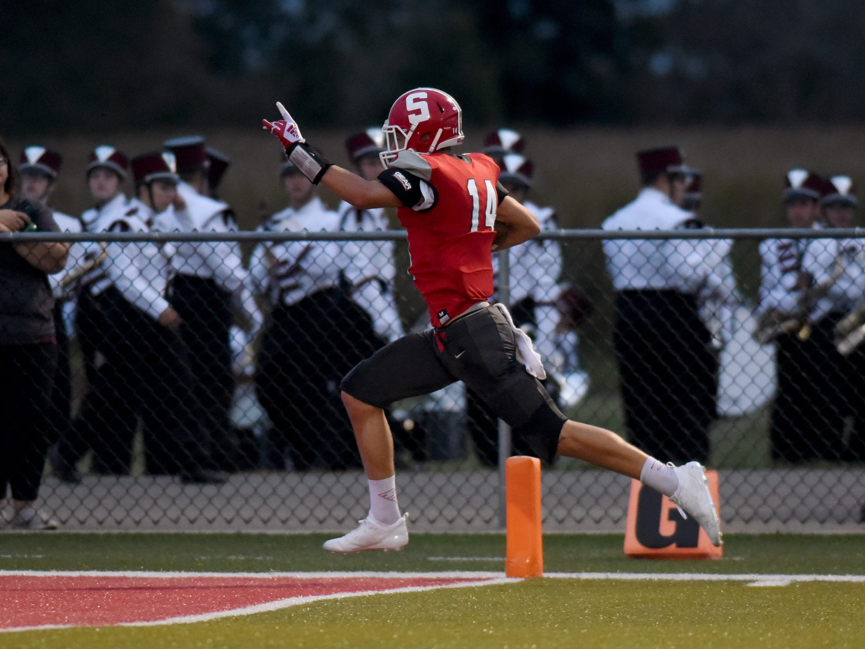 Logan Ranft catches a 51-yard touchdown catch in the second quarter of Sheridan's 37-7 win against John Glenn on Friday night at Paul Culver Jr. Stadium.