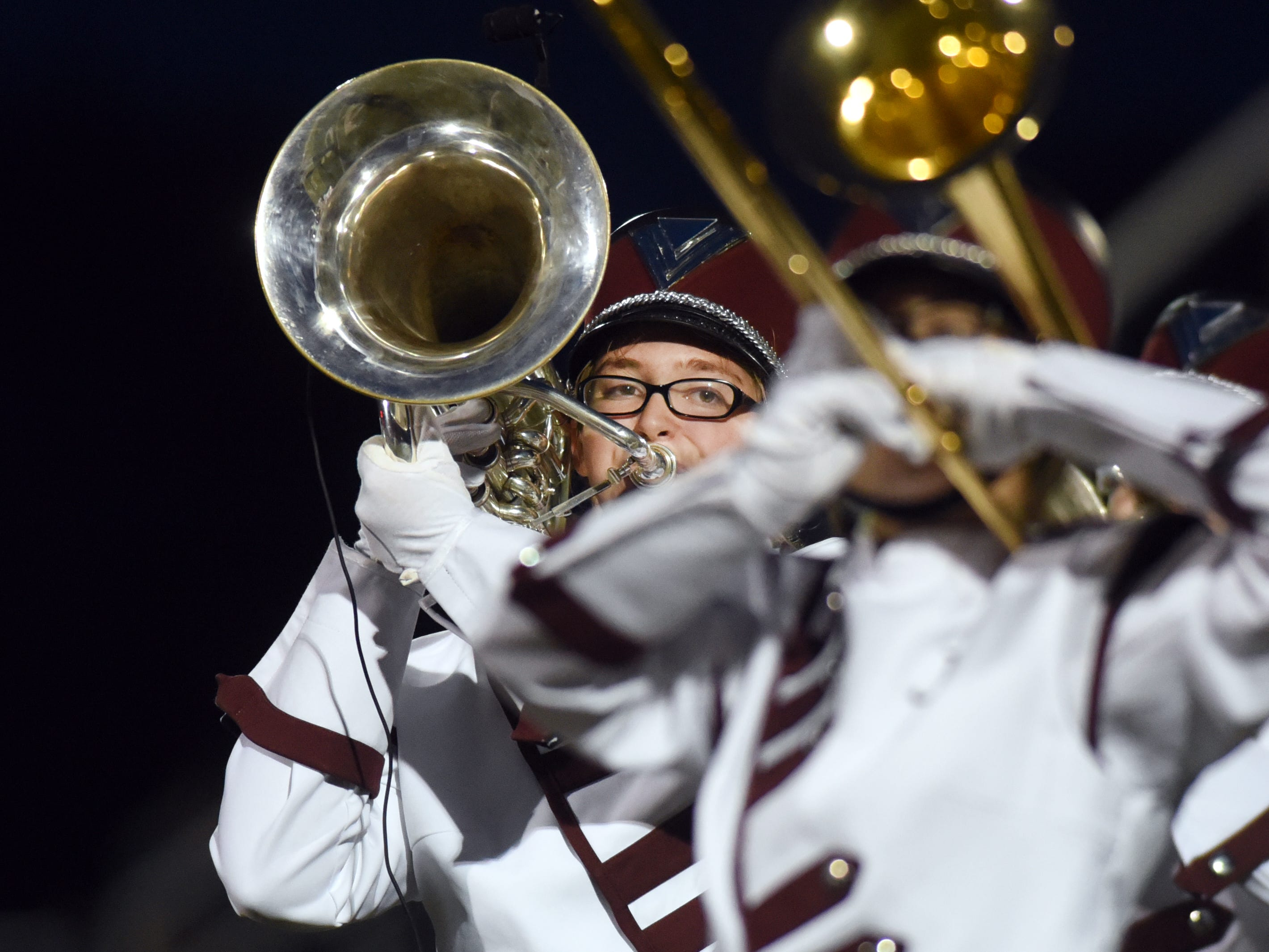 John Glenn's band performs during halftime during its game against Sheridan on Friday night at Paul Culver Jr. Stadium.