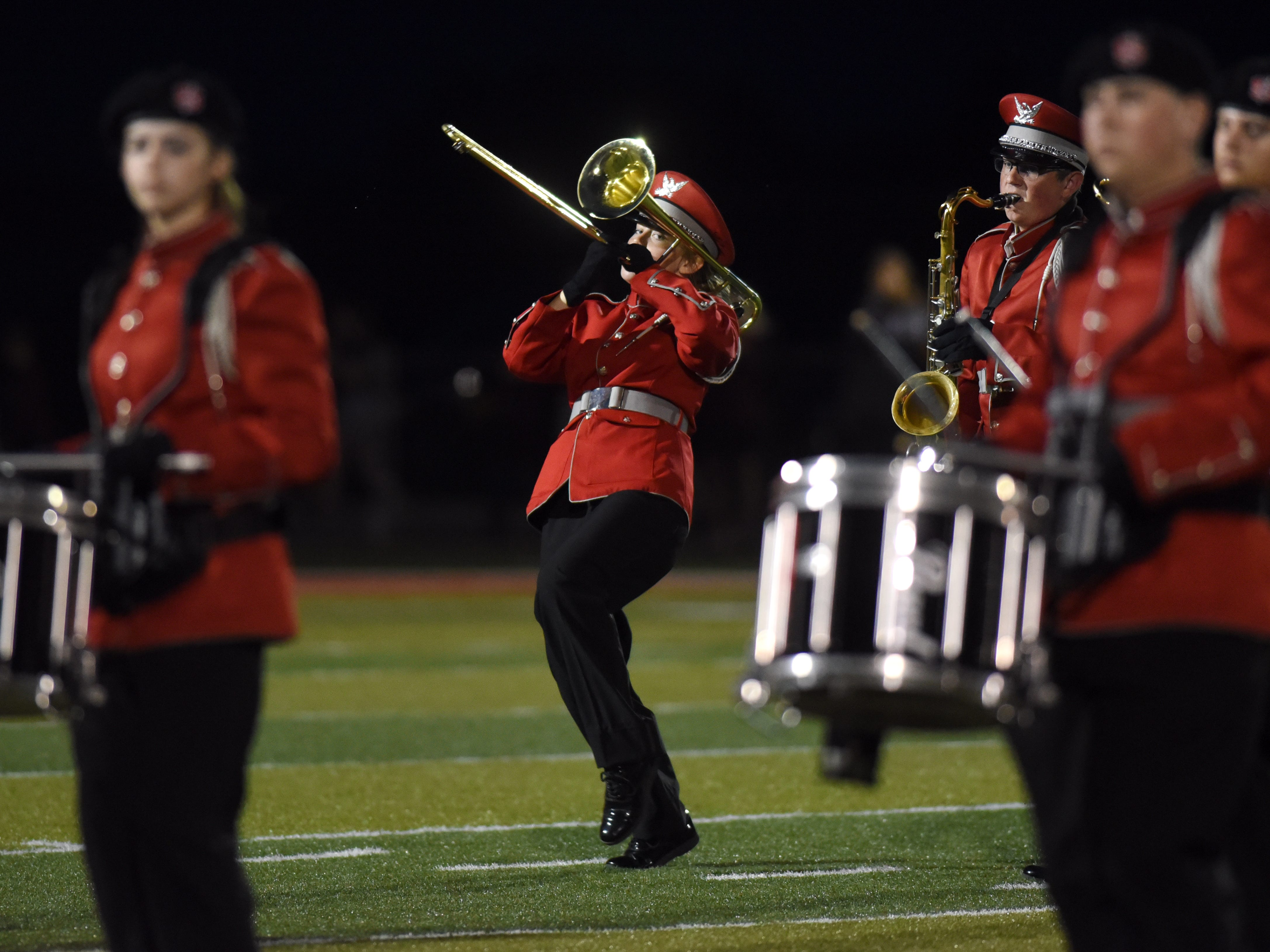 Sheridan's band performs at halftime during its game against John Glenn.
