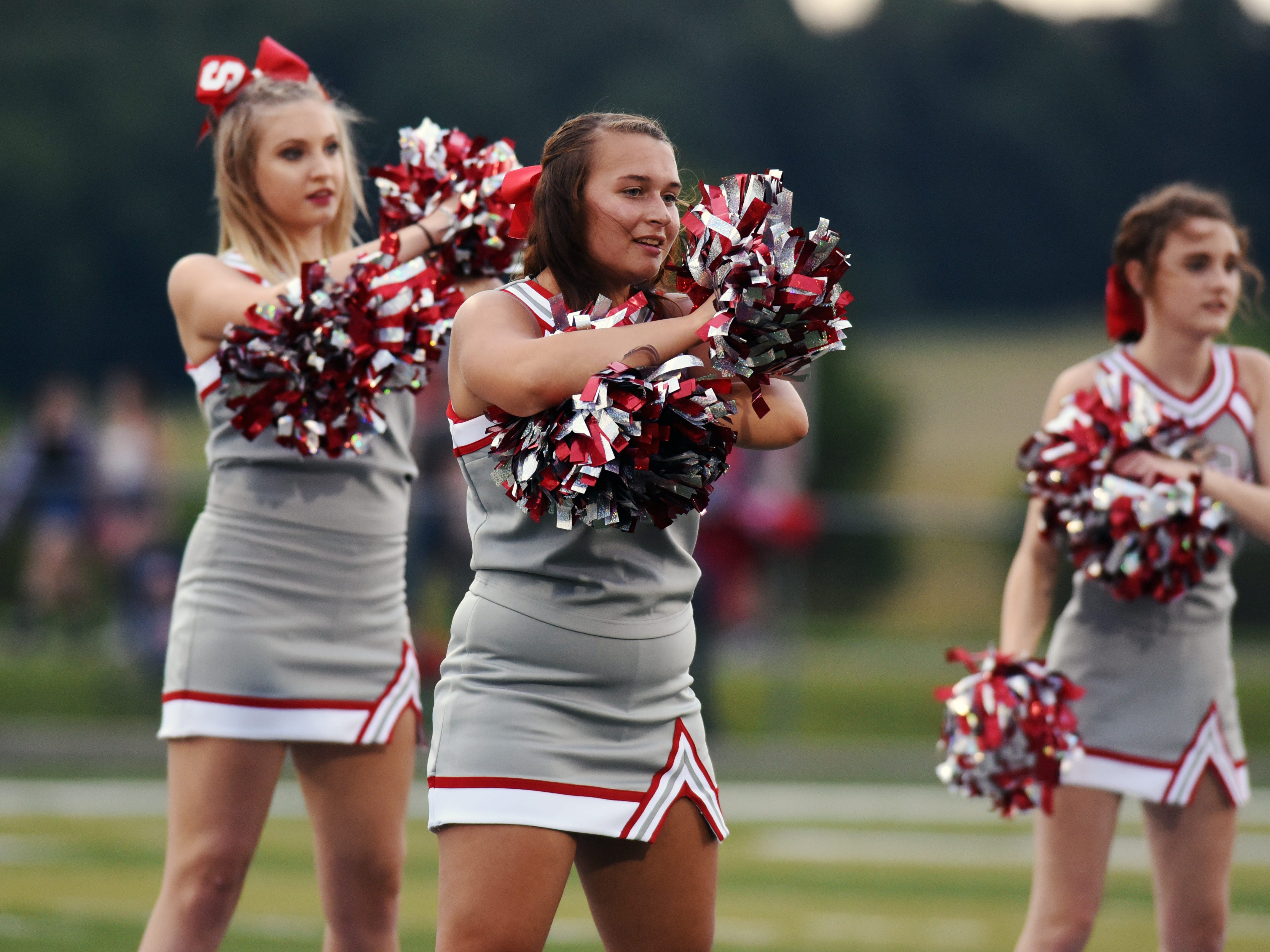 Sheridan's cheerleaders perform prior to the team's game against John Glenn on Friday night at Paul Culver Jr. Stadium. The Generals won, 37-7, to improve to 3-0.