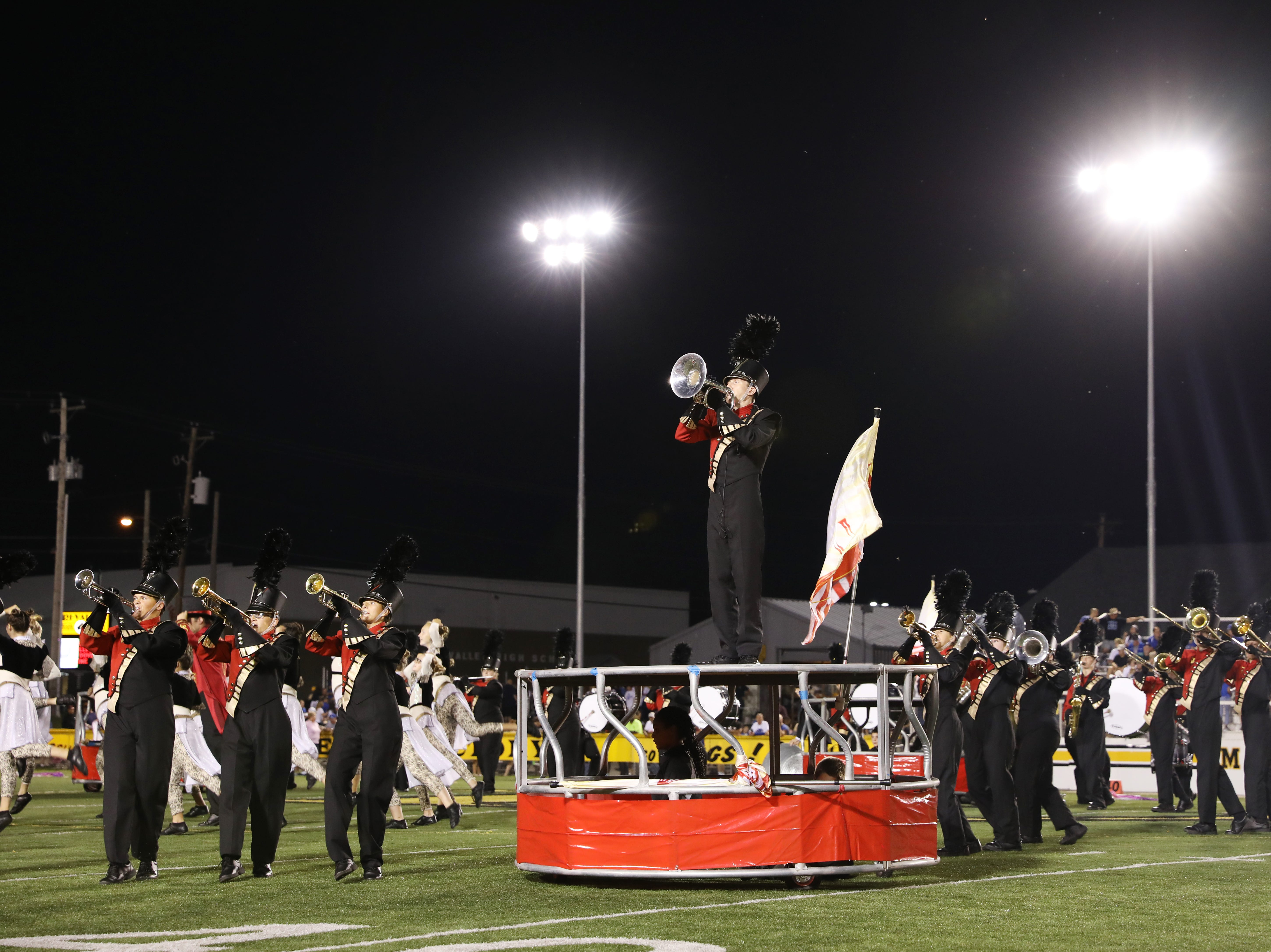 The Tri-Valley High School marching band performs during Friday's game.