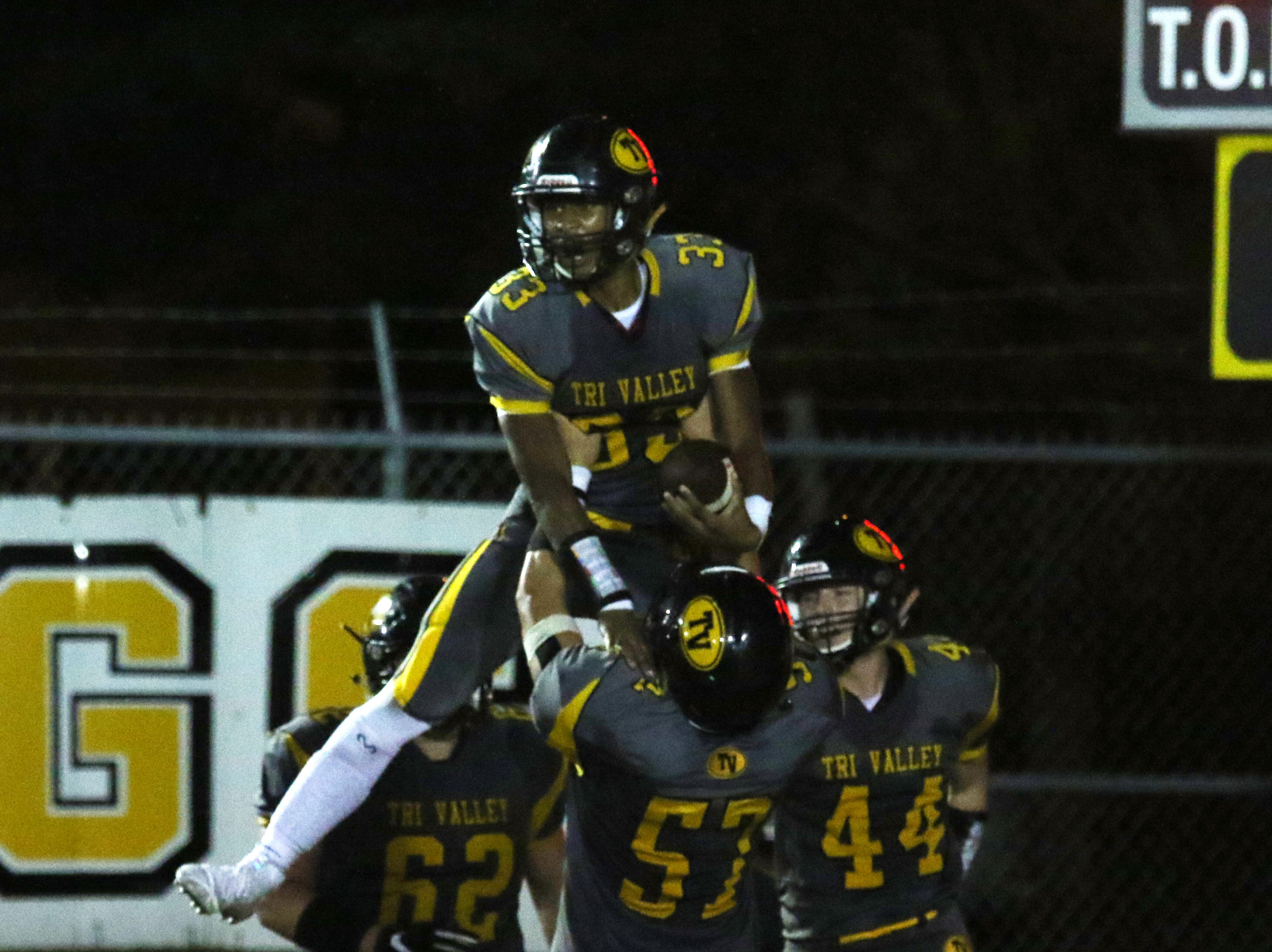 Tri-Valley celebrates a Jordan Pantaleo touchdown against Zanesville.