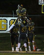 Tri-Valley celebrates a Jordan Pantaleo touchdown against Zanesville.