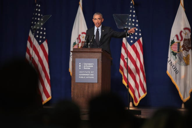 Former President Barack Obama speaks to students at the University of Illinois where he accepted the Paul H. Douglas Award for Ethics in Government on September 7, 2018 in Urbana, Illinois.