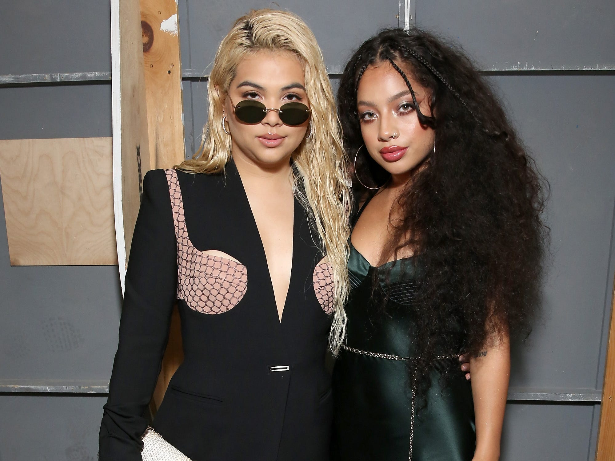 Hayley Kiyoko, left, and Kiana Lede posed for a photo at the Dion Lee show.