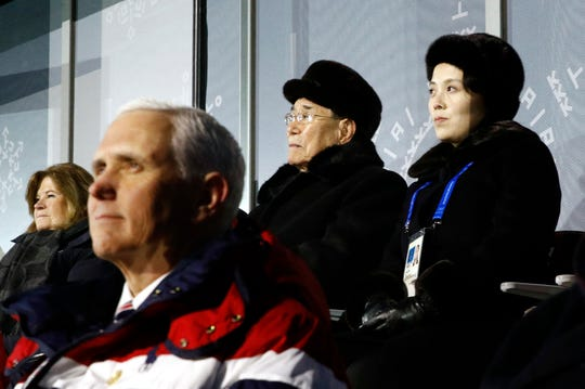 In this Feb. 9, 2018, file photo, Kim Yo Jong, top right, sister of North Korean leader Kim Jong Un, sits alongside North Korea's nominal head of state Kim Yong Nam, and behind Vice President Mike Pence as she watches the opening ceremony of the 2018 Winter Olympics in Pyeongchang, South Korea.