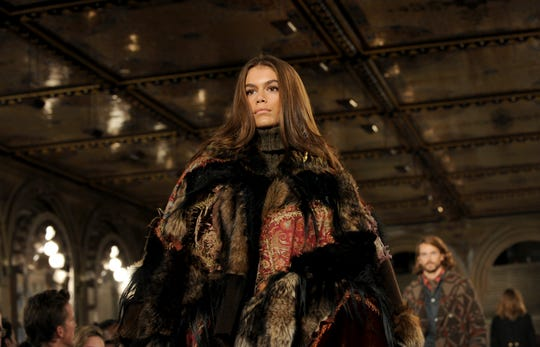 Model Kaia Gerber walks the runway at the Ralph Lauren 50th Anniversary Fashion Show on Sept. 7, 2018.