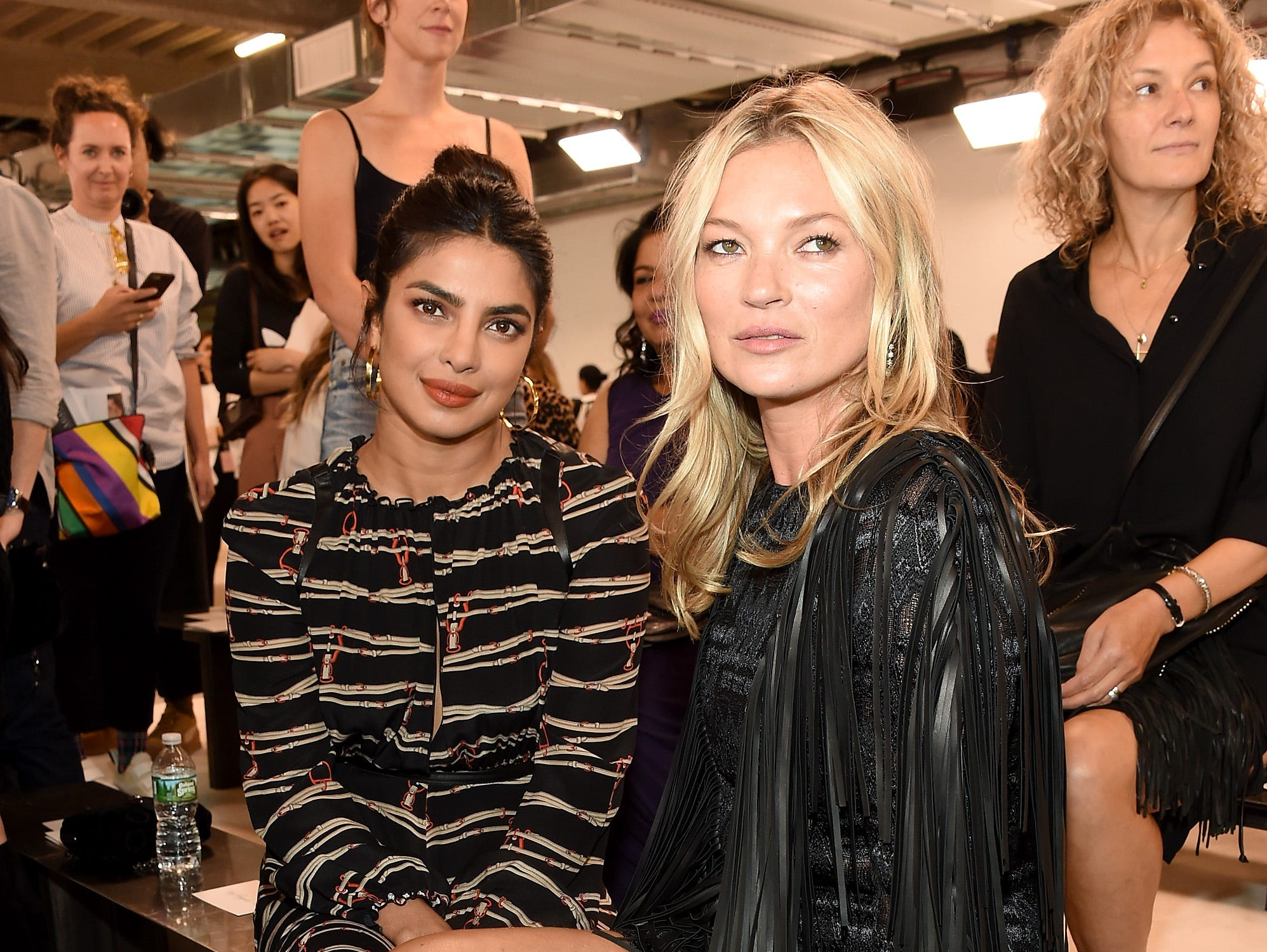 NEW YORK, NY - SEPTEMBER 08:  Actress Priyanka Chopra (L) and Kate Moss pose backstage at the Longchamp Fashion Show during New York Fashion Week at World Trade Center on September 8, 2018 in New York City.  (Photo by Dimitrios Kambouris/Getty Images) ORG XMIT: 775216458 ORIG FILE ID: 1029393460