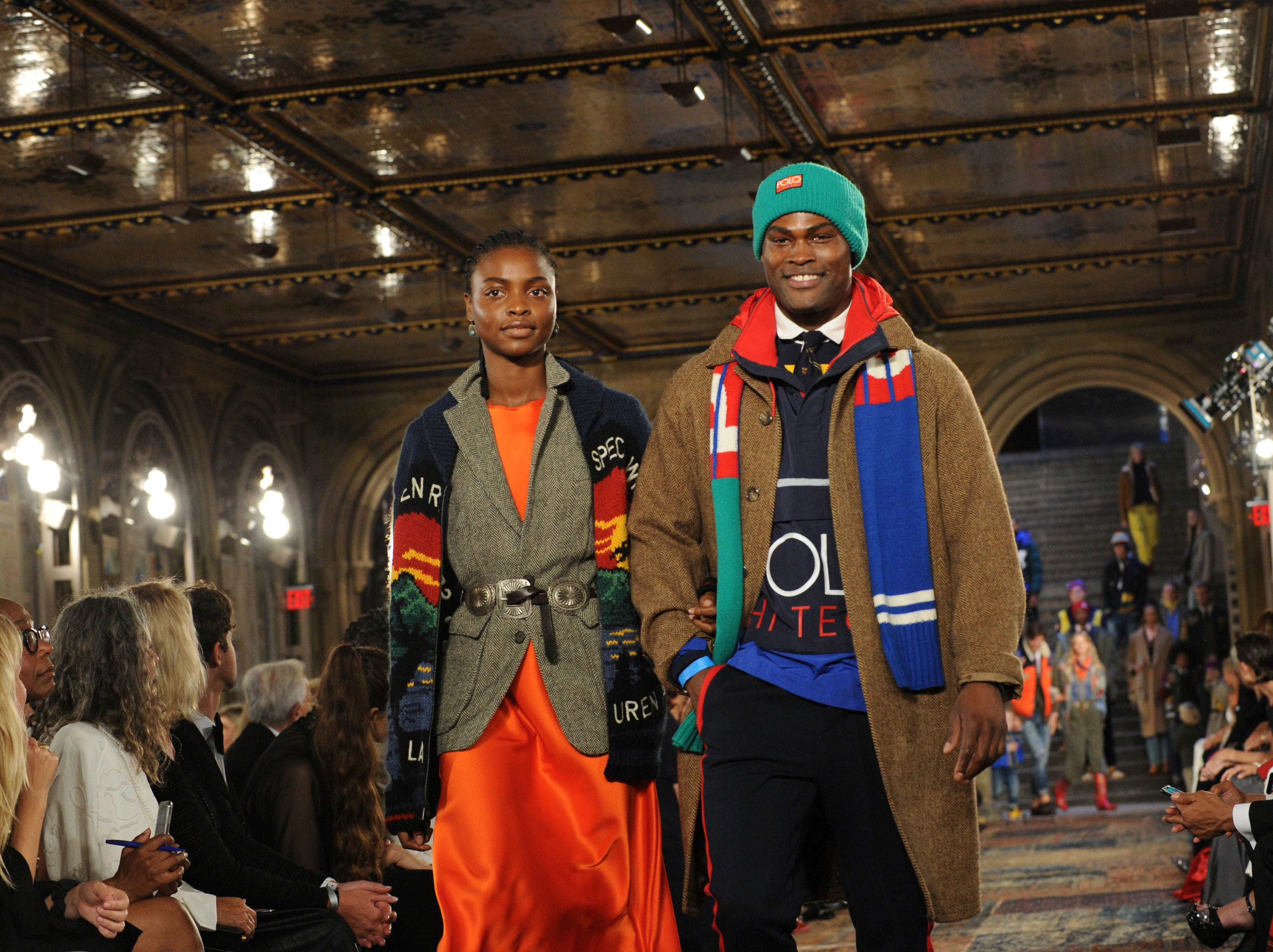 Models walk the runway at the Ralph Lauren 50th Anniversary Fashion Show during New York Fashion Week, Friday, Sept. 7, 2018. (AP Photo/Diane Bondareff) ORG XMIT: NYDB133