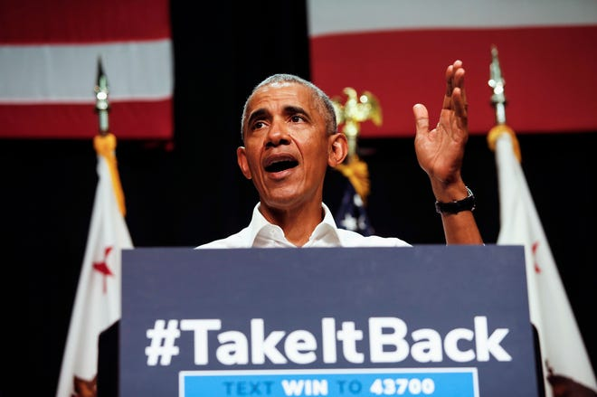 Former President Barack Obama speaks as he campaigns in support of California congressional candidates, on Sept. 8, 2018, in Anaheim, California.