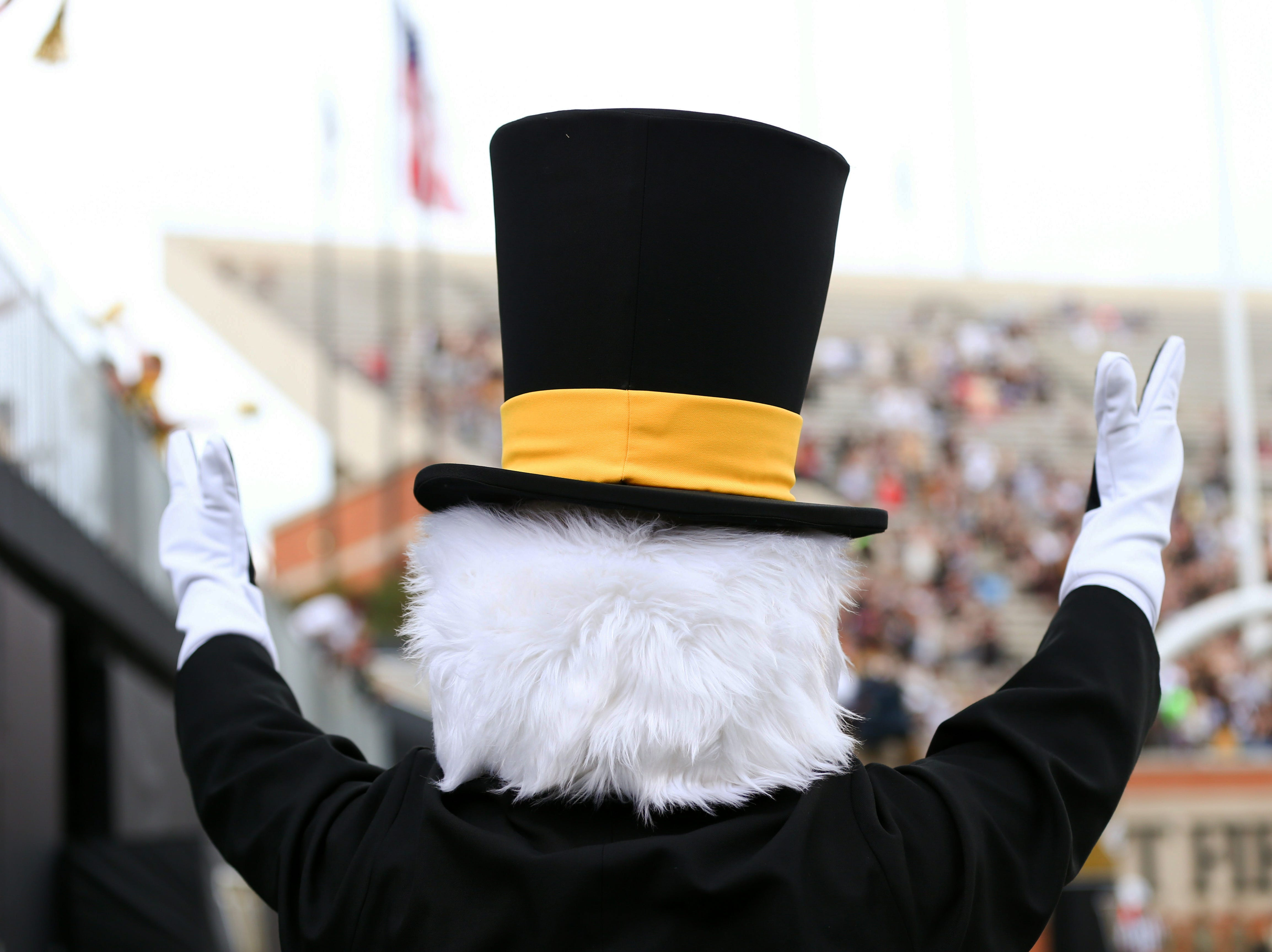 Week 2: The Wake Forest Demon Deacons mascot signals after a touchdown in the second quarter against the Towson Tigers.
