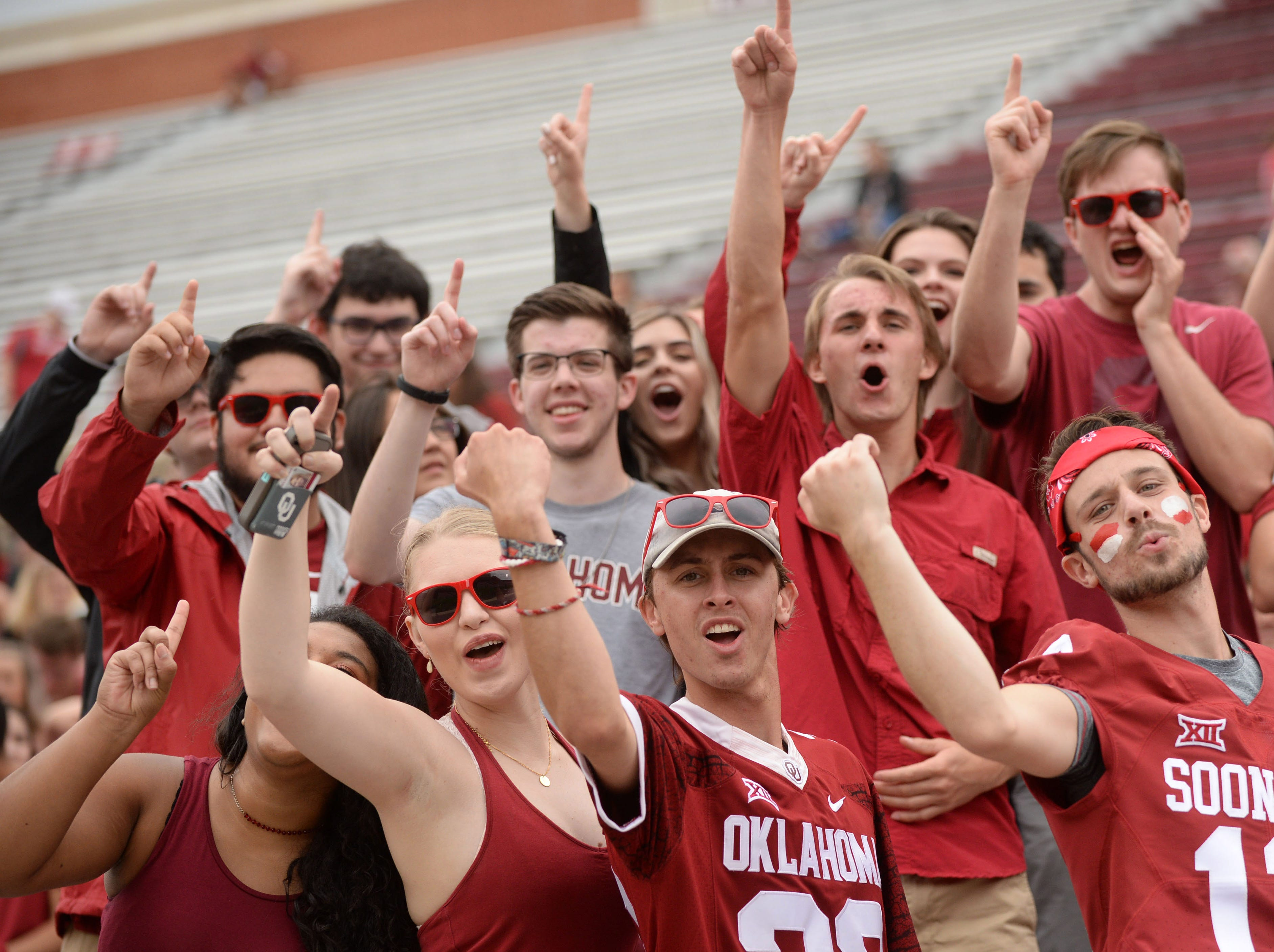 Oklahoma fans cheer prior to a game against UCLA.