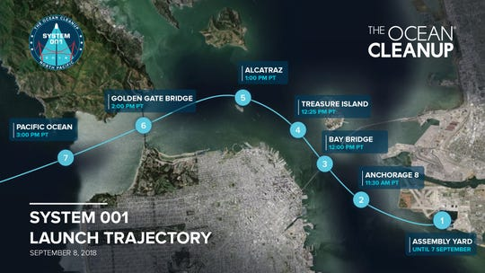 The path the Ocean Cleanup will take out of San Francisco Bay and into the Pacific ocean Saturday, Sept. 8, 2018 as it launches a test of its plastic pollution cleaning system.
