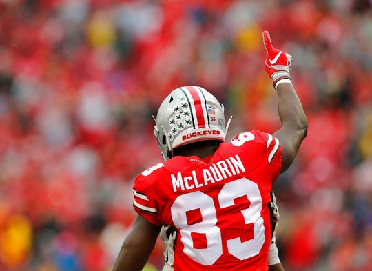 Ohio State receiver Terry McLaurin celebrates his touchdown against Rutgers during the first half of an NCAA college football game Saturday, Sept. 8, 2018, in Columbus, Ohio. (AP Photo/Jay LaPrete)