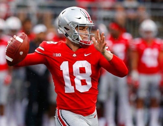 Ohio State quarterback Tate Martell throws a pass against Rutgers during the second half of an NCAA college football game Saturday, Sept. 8, 2018, in Columbus, Ohio. Ohio State beat Rutgers 52-3. (AP Photo/Jay LaPrete)