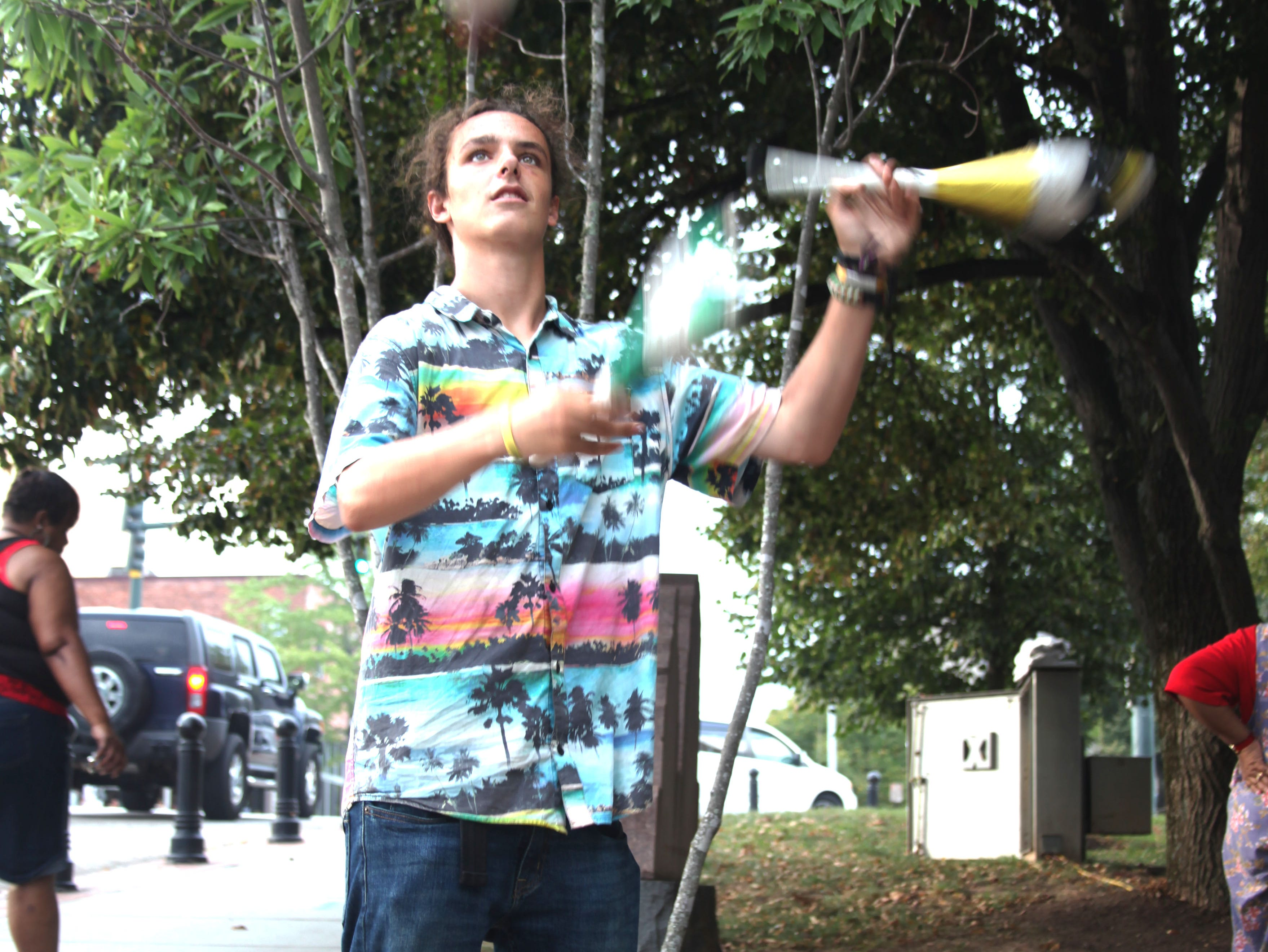 Darron G. juggles at the 2018 Goombay Festival at the Roger McGuire Green in Pack Square Park on Sept. 8, 2018.