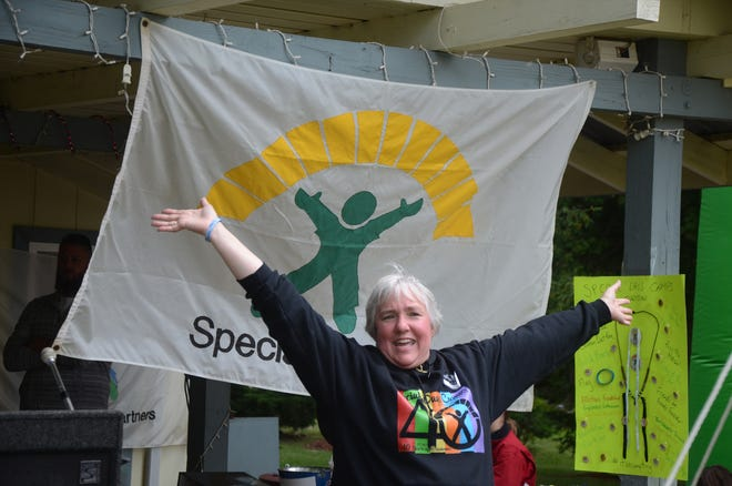 Nikki Lemieuz Smith of Portage, the first camper at Special Days Camps welcomed everyone Sunday in Marshall at a 40th anniversary celebration of the program.