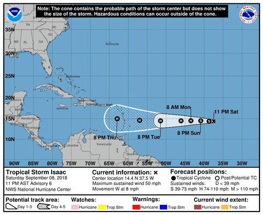 The path of Tropical Storm Isaac as of 11 p.m. Saturday.