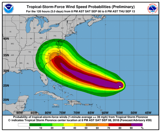 A graphic from the National Hurricane Center shows wind speed probabilities for Tropical Storm Florence as of 8 p.m. Saturday, September 8.