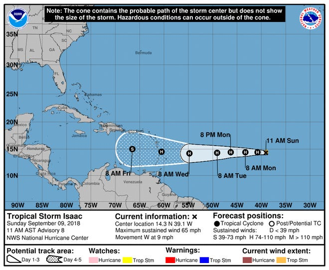 A graphic from the National Hurricane Center shows the position and forecast track of Tropical Storm Isaac as of 11 a.m. Sunday, September 9.