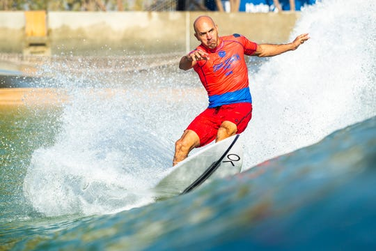 11X World Champion Kelly Slater (USA) has a heat total of 14.57 points (out of a possible 20.00) after his Qualifying Run 1 and 2 at the 2018 Surf Ranch Pro in Lemoore, CA, USA.