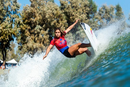 Caroline Marks had a point total of 16.43 (out of a possible 20.00) after her Qualifying Run 1 and Run 2 at the 2018 Surf Ranch Pro in Lemoore, CA, USA.