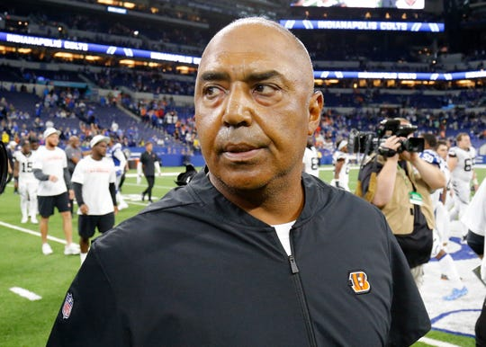 Cincinnati Bengals head coach Marvin Lewis leaves the field after the fourth quarter of the NFL Week One game between the Indianapolis Colts and the Cincinnati Bengals at Lucas Oil Stadium in Indianapolis on Sunday, Sept. 9, 2018. The Bengals begin the season with a 34-23 win in Indianapolis.