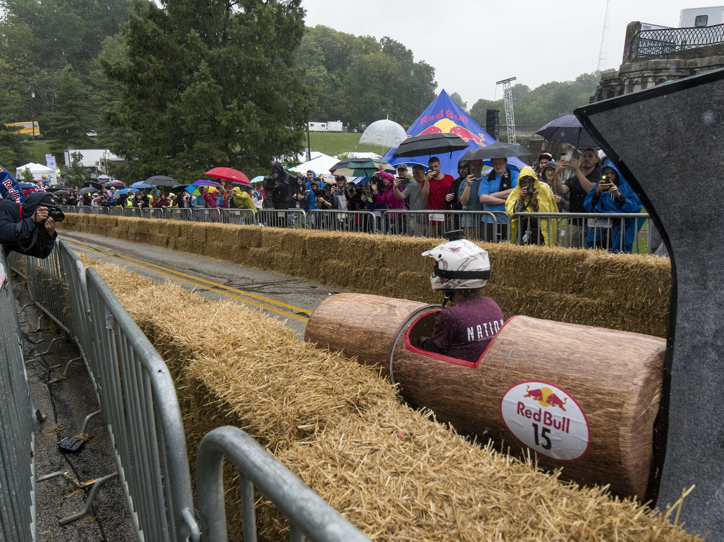 Carrie Nation's infamous hatchet, driven by a member of the team from Nation Kitchen and Bar, makes it way to the finish line of the Red Bull Soapbox Derby Saturday, September 8, 2018 in Cincinnati, Ohio.