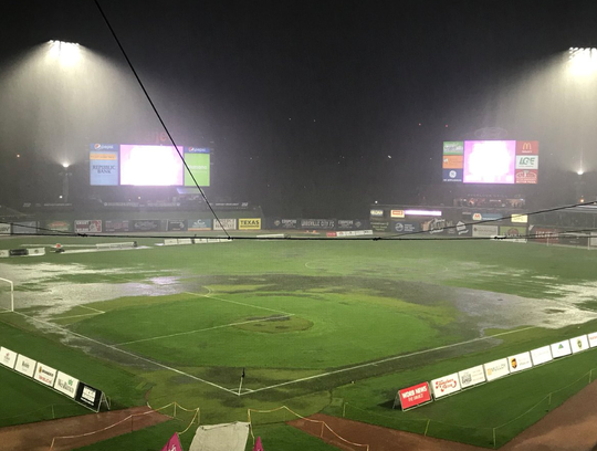 Moments prior to the postponement of the match, the field at Louisville Slugger Field floods from a downpour during the FC Cincinnati versus Louisville City FC match.