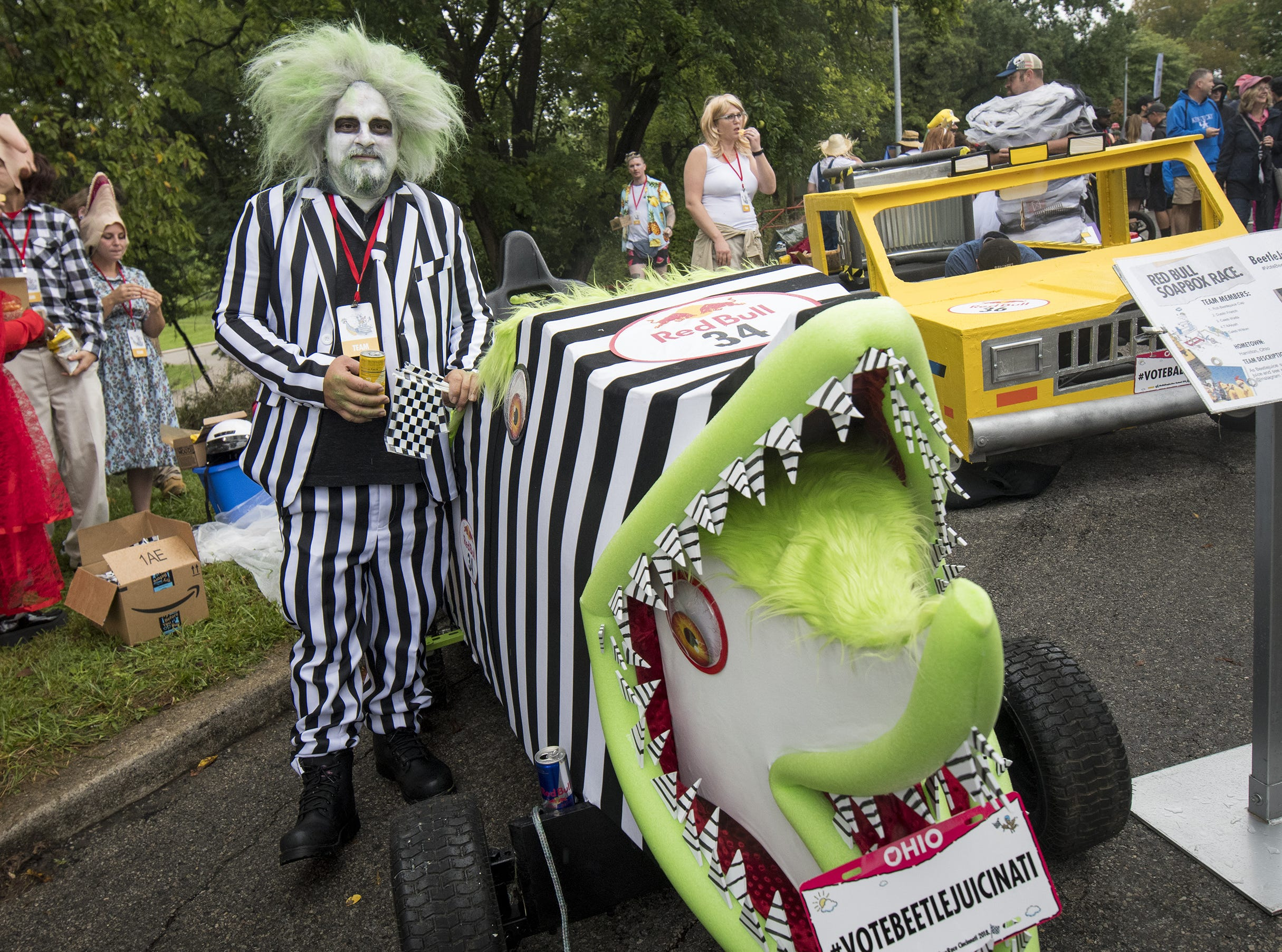 Rob Cap of Hamilton shows of team BeetleJuicinati's soapbox car before the Red Bull Soapbox Derby Saturday, September 8, 2018 in Cincinnati, Ohio.