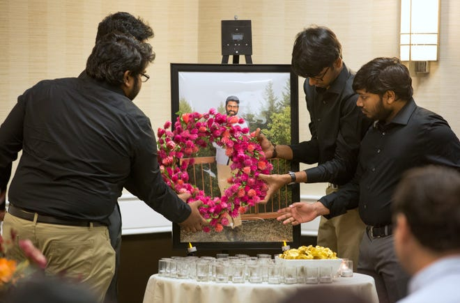 Close friends of Prudhvi Kandepi hold a memorial service at The Ramada Plaza in Sharonville. Kandepi, 25, was the youngest victim in the mass shooting Thursday, September 6, in the lobby of the Fifth Third Center on Fountain Square. He was an electrical engineer and contract worker at the bank. Omar Santa Perez, 29, opened fire Thursday morning, killing three and wounding two others. Police shot and killed Santa. Kandepi body is being flown home to India for funeral services.