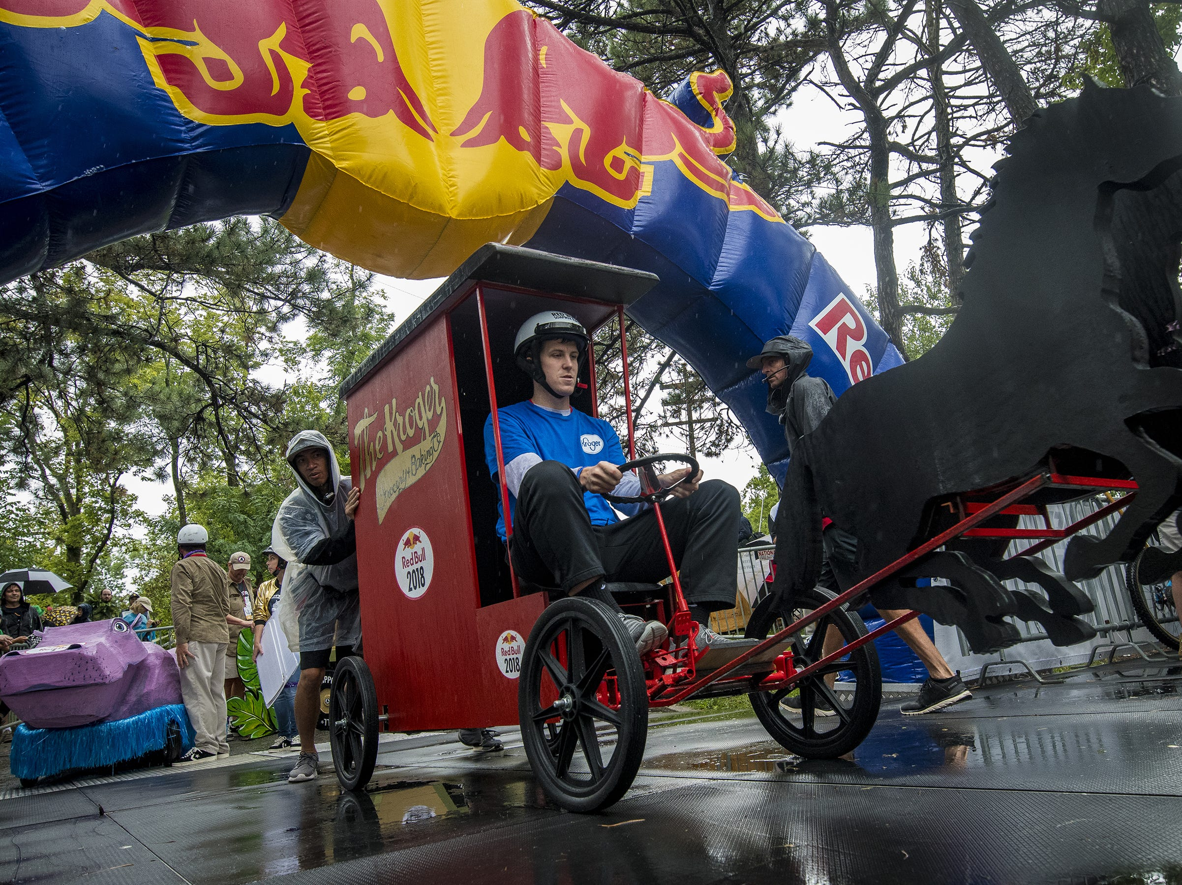 Kroger's soapbox car takes an exhibition run before the start of the Red Bull Soapbox Derby Saturday, September 8, 2018 in Cincinnati, Ohio.