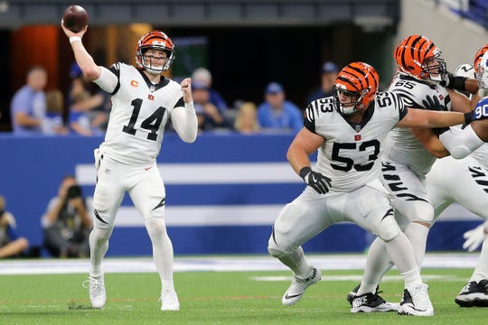 Cincinnati Bengals quarterback Andy Dalton (14) throws in the fourth quarter during the Week 1 NFL game between the Cincinnati Bengals and the Indianapolis Colts, Sunday, Sept. 9, 2018, at Lucas Oil Stadium in Indianapolis. Cincinnati won 34-23.