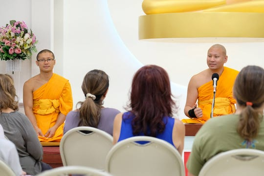 Venerable Pasura Dantamano (right) shared his insight on inner peace at Dhammakaya International Meditation Center in Fanwood.
