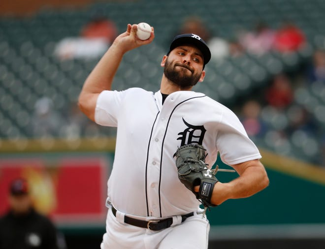 Tigers pitcher Michael Fulmer throws against the St. Louis Cardinals in the first inning on Sunday, Sept. 9, 2018, at Comerica Park.