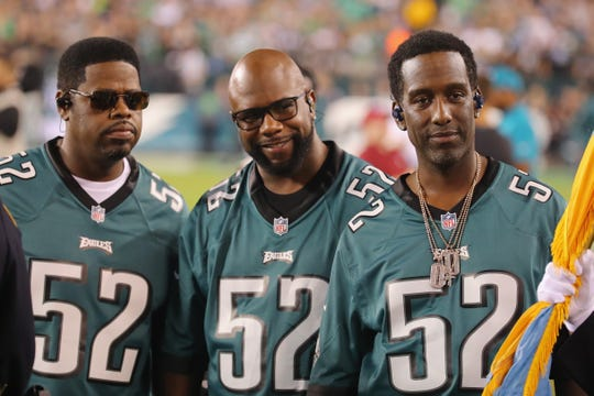 R&B group Boyz II Men before the game between the Atlanta Falcons and the Philadelphia Eagles at Lincoln Financial Field on Sept. 6, 2018, in Philadelphia.