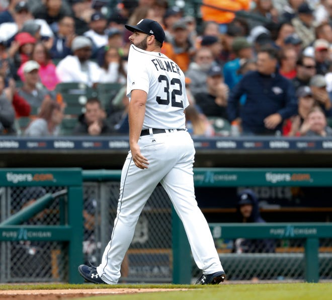 Tigers pitcher Michael Fulmer walks to the dugout after being pulled in the seventh inning on Sunday, Sept. 9, 2018, at Comerica Park.