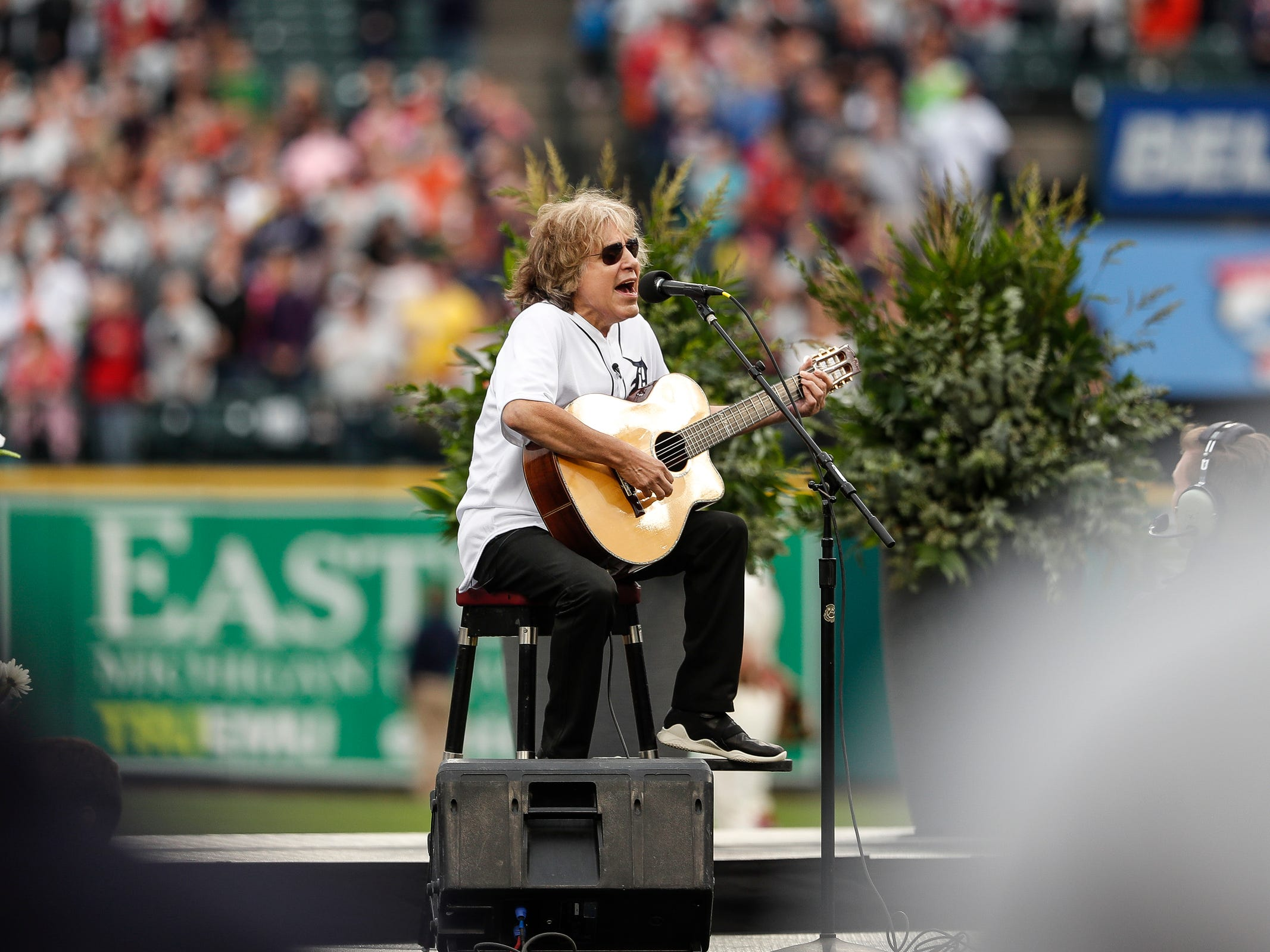Jose Feliciano sings the national anthem during the Detroit Tigers celebration of the 50th anniversary of the 1968 World Series championship at Comerica Park in Detroit, Saturday, Sept. 8, 2018.