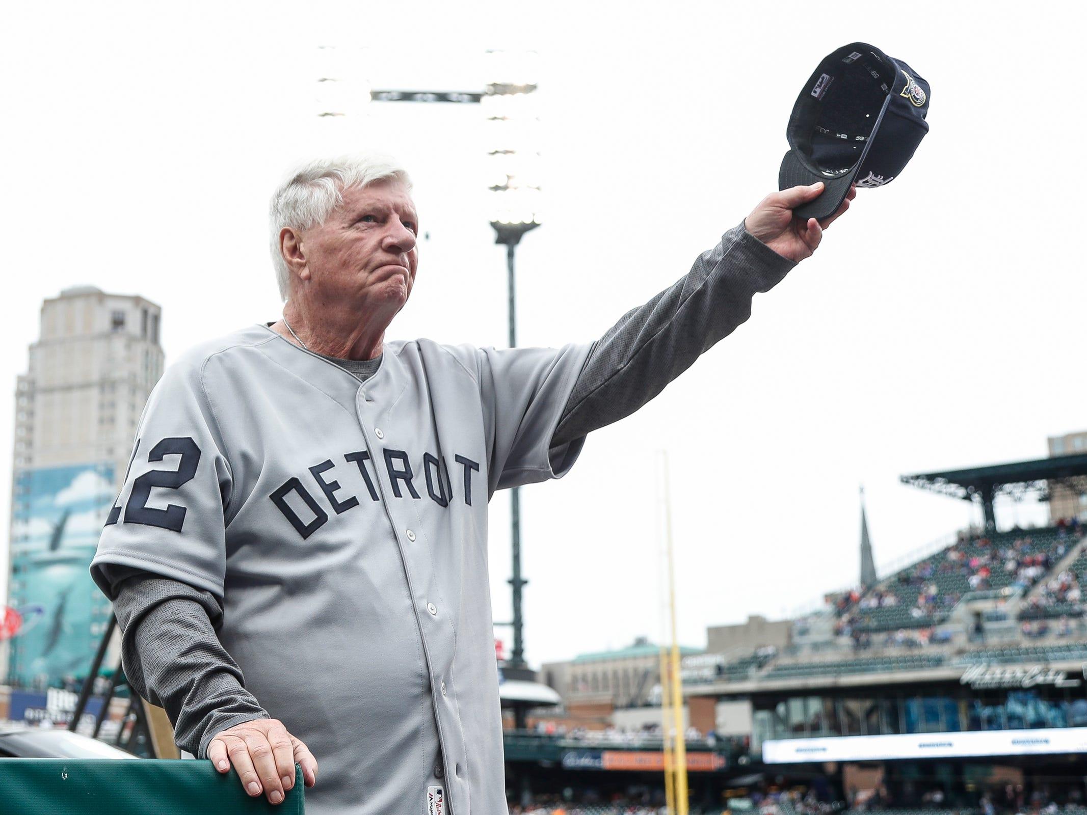 Former Detroit Tigers catcher Jim Price waves at the crowd during the celebration of the 50th anniversary of the 1968 World Series championship at Comerica Park in Detroit, Saturday, Sept. 8, 2018.