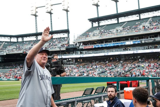 Former Detroit Tigers pitcher Jon Warden waves at the crowd as he walks to the dugout during the celebration of the 50th anniversary of the 1968 World Series championship at Comerica Park in Detroit, Saturday, Sept. 8, 2018.