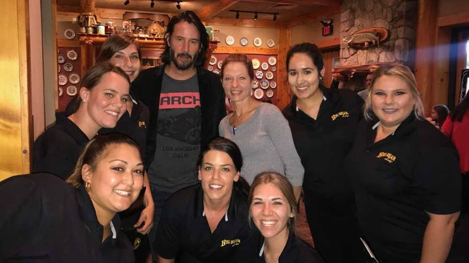 Actor Keanu Reeves paid a visit to the Big Bear Lodge Restaurant in Flat Rock on Friday, Sept. 7 around dinnertime. He stopped and took a photo with restaurant staff after his meal.