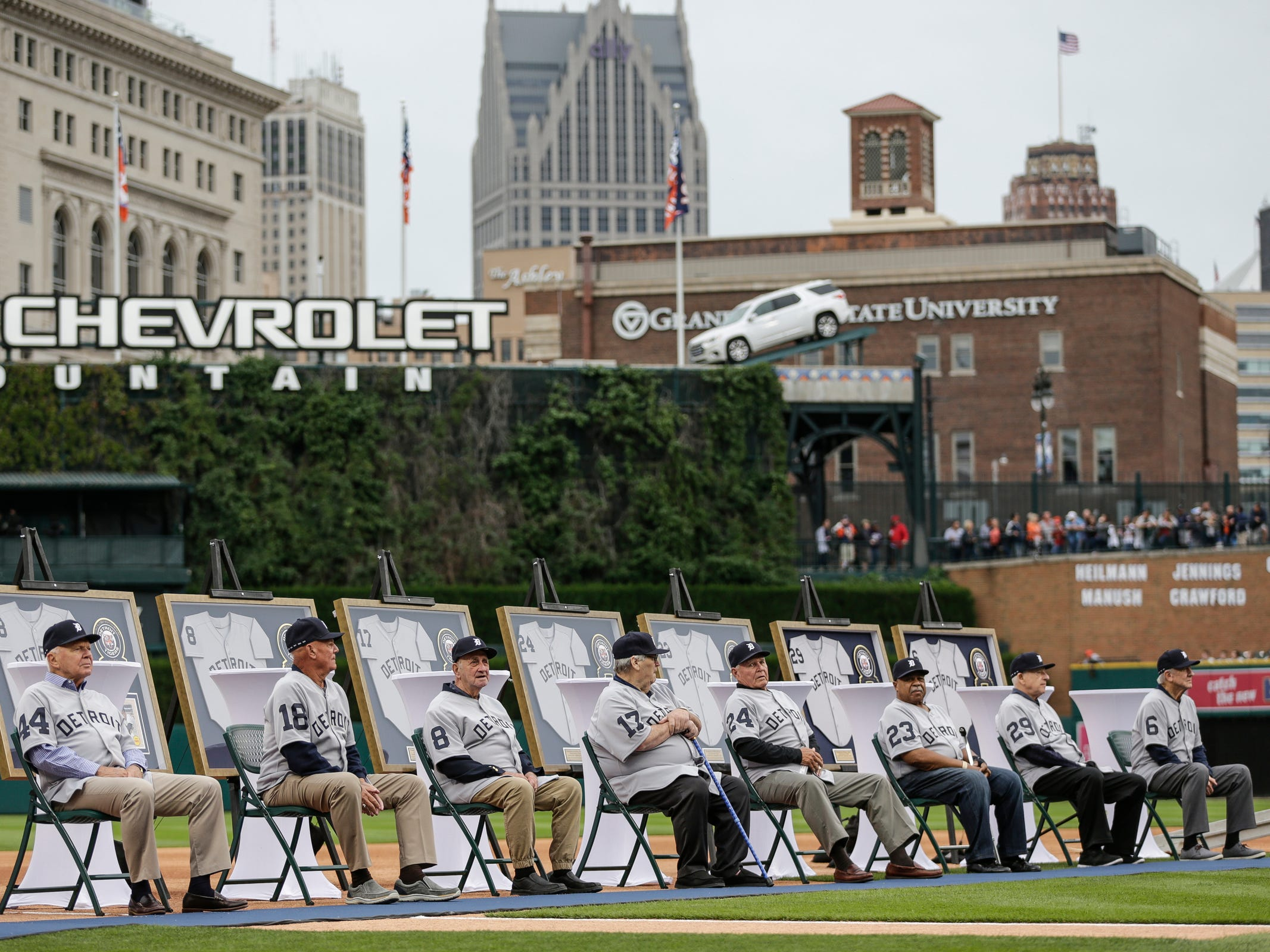 1968 Detroit Tigers World Series championship team is honored at the 50th anniversary of the 1968 World Series championship at Comerica Park in Detroit, Saturday, Sept. 8, 2018.