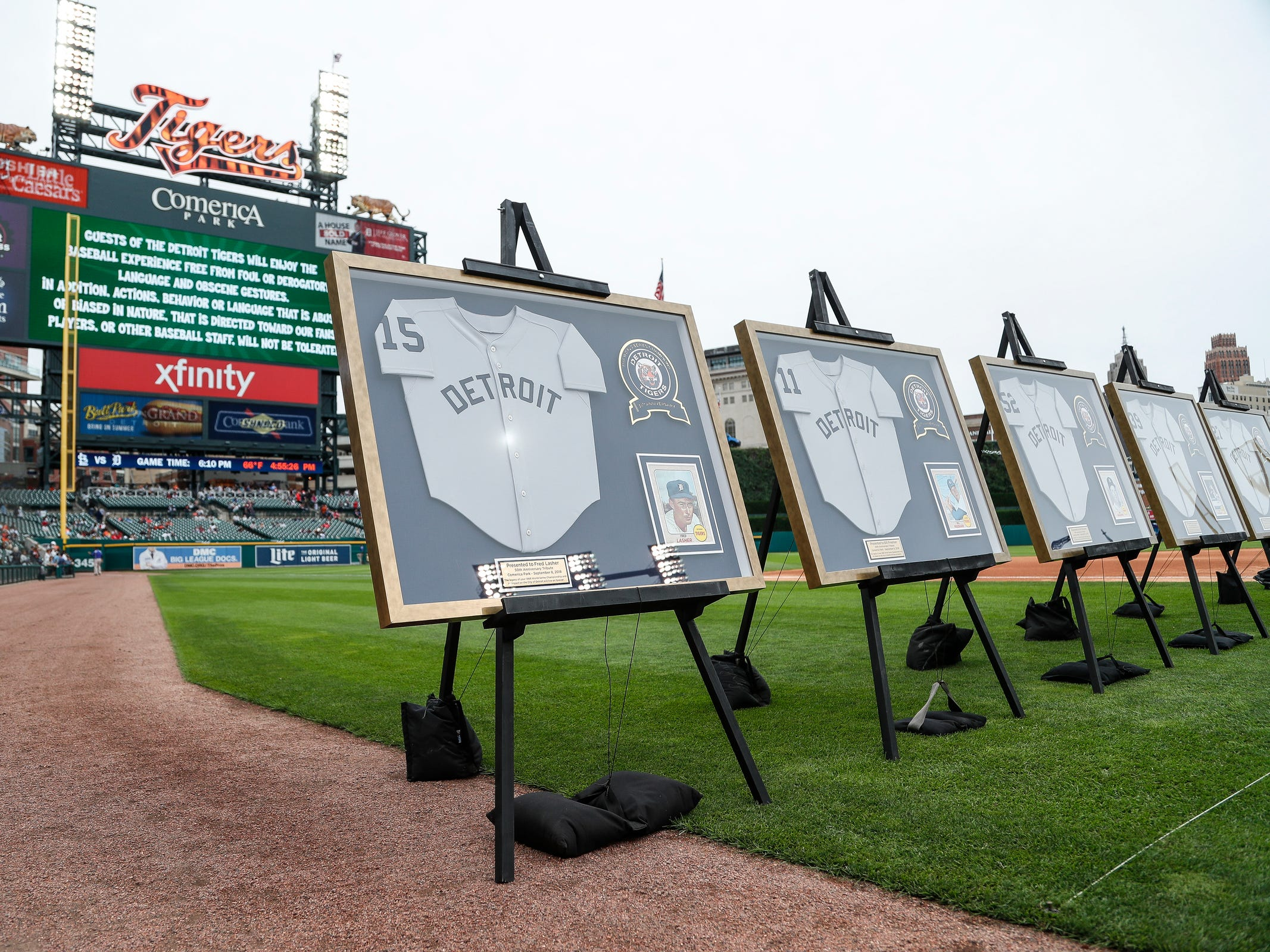 1968 Detroit Tigers World Series championship team are honored during the celebration of the 50th anniversary of the 1968 World Series championship at Comerica Park in Detroit, Saturday, Sept. 8, 2018.