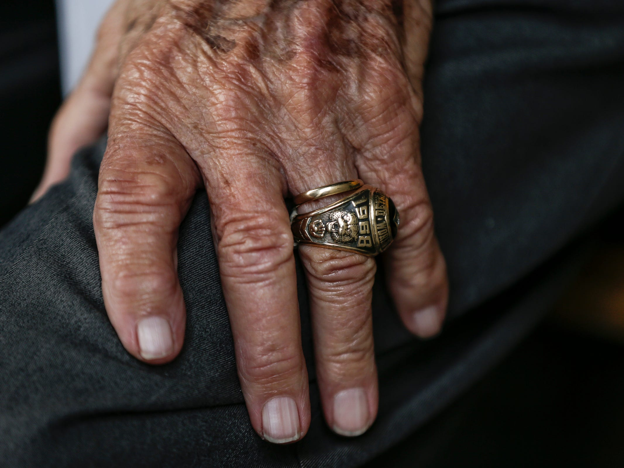 A 1968 World Series championship ring is worn by former Detroit Tigers coach Hal Naragon during the 50th anniversary of the 1968 World Series championship at Comerica Park in Detroit, Saturday, Sept. 8, 2018.