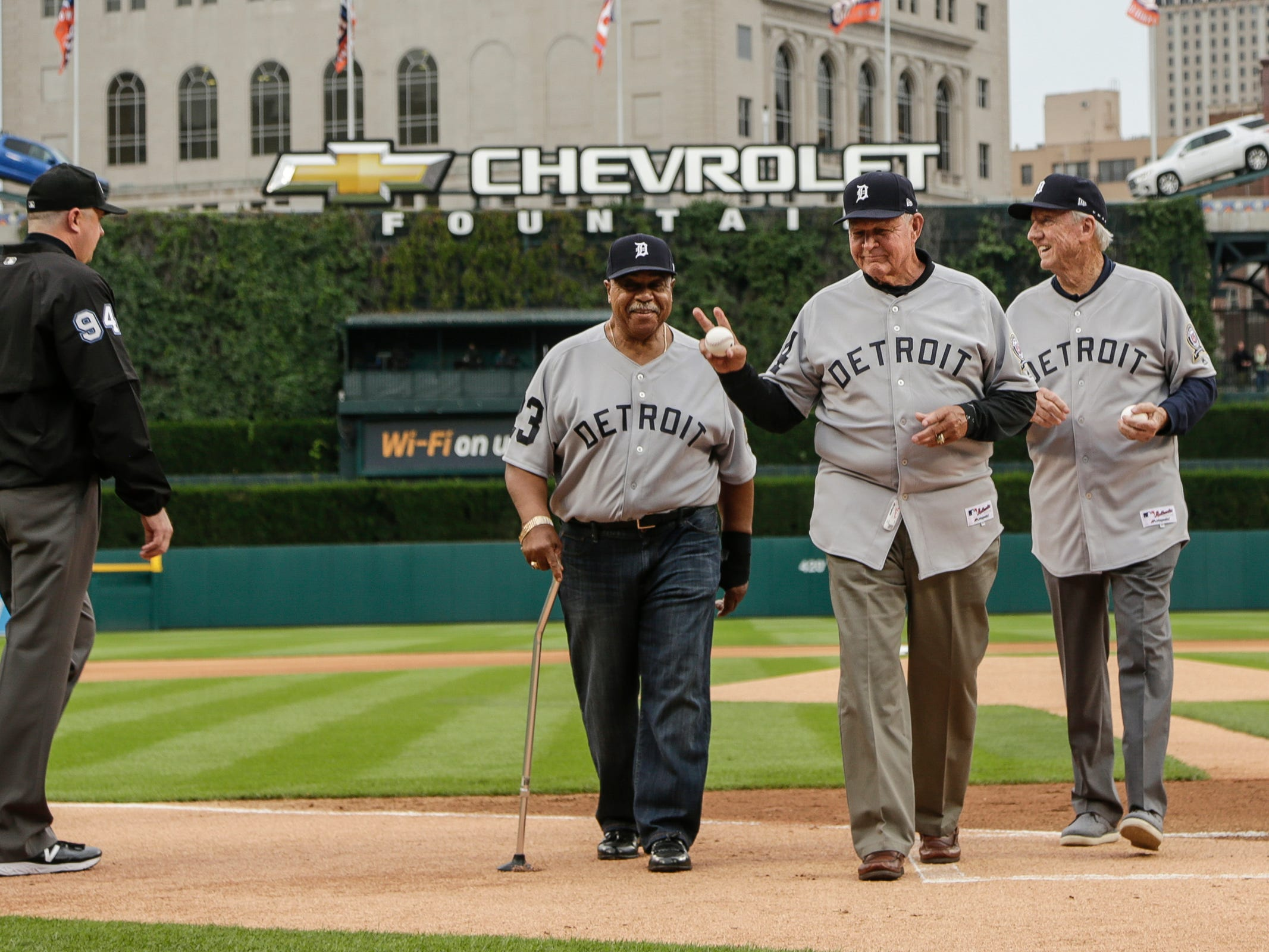 Former Detroit Tigers standouts Willie Horton, Mickey Stanley, and Al Kaline walk off the field after they throw the ceremonial first pitch before the Tigers-Cardinals game at Comerica Park in Detroit, Saturday, Sept. 8, 2018.