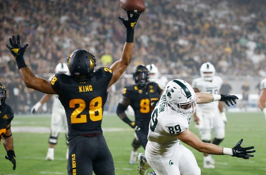 Arizona State defensive back Demonte King tips a pass intended for Michigan State tight end Matt Dotson during the first half Saturday, Sept. 8, 2018, in Tempe, Ariz.