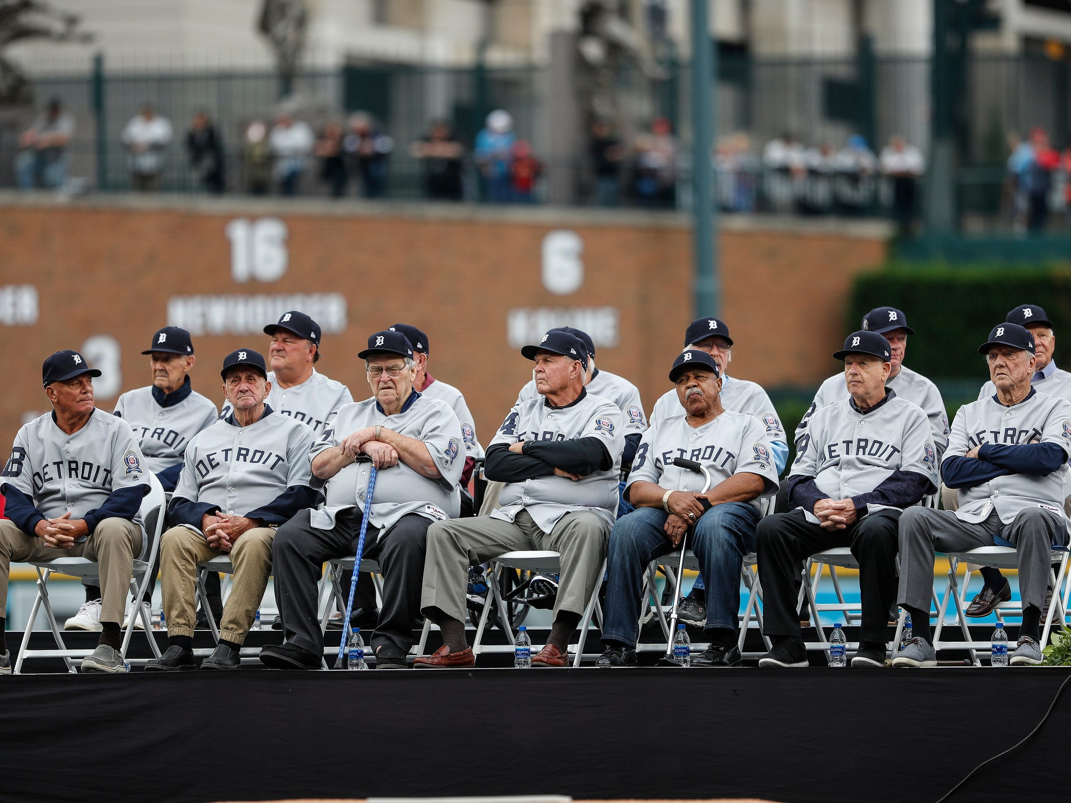 1968 Detroit Tigers World Series championship team is honored during the celebration of the 50th anniversary of the 1968 World Series championship at Comerica Park in Detroit, Saturday, Sept. 8, 2018.